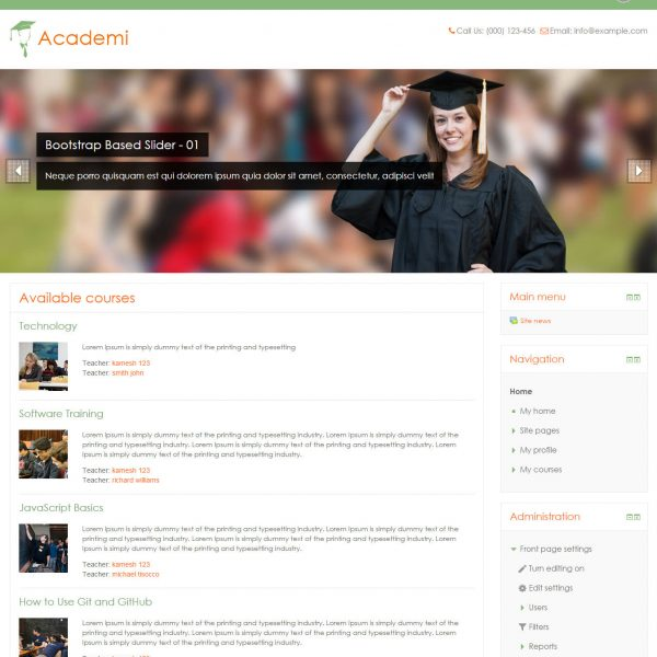 Academi - Clean and Elegant Free Moodle Theme